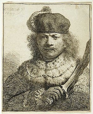 Tronie - Rembrandt, etching, one of several self-portraits in a fanciful costume, as an Oriental potentate with a kris. B18