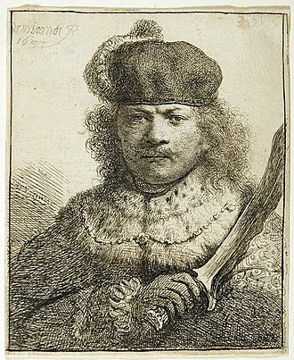 Self-portraits by Rembrandt - Role-playing in Self-portrait as an Oriental Potentate with a Kris, etching, 1634. B18