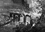 Artist's conception of the Lebanon Valley Bridge fire during the riot