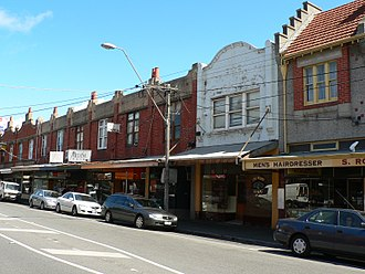 Ripponlea, Victoria - Edwardian shopfronts at Ripponlea village, Glen Eira Road. The Mayor's office, which doubles as a barber's shop, can be seen at far right.