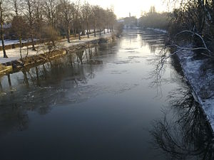 Global storm activity of 2010 - Ice on River Severn at Shrewsbury, England on January 8.