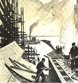 Thornton Oakley - Riveters At Work at Hog Island Shipyard (Philadelphia), in Harper's Monthly Magazine,  October 1918