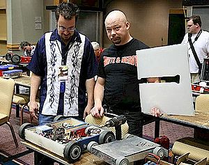 Robot combat - Combat robots in the pit area at the 2007 Robot Battles competition in Atlanta, Georgia.