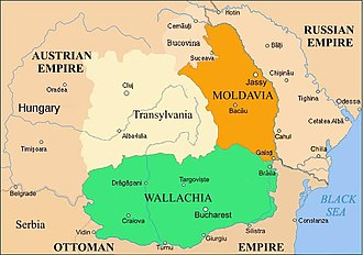 Industrial development in the Principality of Wallachia - Wallachia (green) between 1829 and 1859