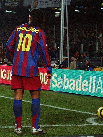Number (sports) - Brazilian star Ronaldinho wore n° 10 during his tenure on Barcelona, then switching to n° 80 when he was traded to Milan