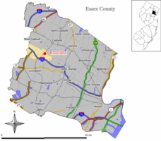 Map of Roseland in Essex County. Inset: Location of Essex County highlighted in the State of New Jersey.