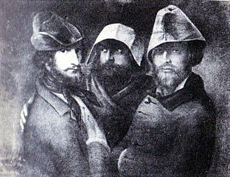 Wallachian Revolution of 1848 - Lithograph of a group portrait by Constantin Daniel Rosenthal, showing Paris-based revolutionaries during the early 1840s. From left: Rosenthal (wearing a phrygian cap), C. A. Rosetti, anonymous Wallachian