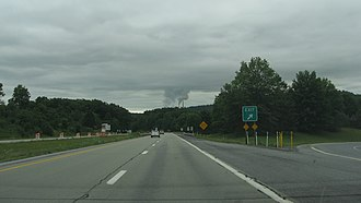 U.S. Route 119 in Pennsylvania - Heading south of Route 119, just north of Homer City, Pennsylvania.  Homer City Generating Station is visible is the distance.