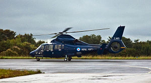 Royal Navy Aerospatiale Dauphin II, Plymouth, Sept. 2010 - Flickr - PhillipC.jpg