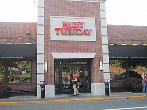 Ruby Tuesday (restaurant) - A Ruby Tuesday location near the University of Virginia campus in Charlottesville, Virginia, July 2011