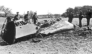 The wreckage of Rudolf Hess' Messerschmitt Bf ...