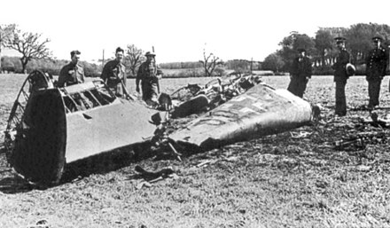 Rudolf Hess, Deputy Fuhrer of Nazi Germany, crashed his plane at Bonnyton Moor in the Scottish central belt in an attempt to make peace. Rudolf Hess - Bf 110D Werk Nr 3869 - Wreckage - Bonnyton Moor.jpg