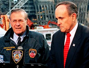 Rudy Giuliani presidential campaign, 2008 - Mayor Giuliani (right) at Ground Zero following the 9/11 attacks, with Secretary of Defense Donald Rumsfeld.