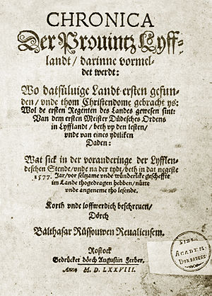 Balthasar Russow - The Chronicle of Livonia by Balthasar Russow, published in 1578