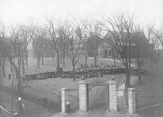 Queens Campus, Rutgers University - The student body assembled on Rutgers College's Queens Campus on February 14, 1906
