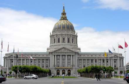 San Francisco City Hall, where the killings took place. The building was heavily damaged during the riots. SFCityHall.png