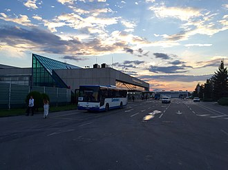 Sarajevo International Airport - Bus stop in front of the terminal building