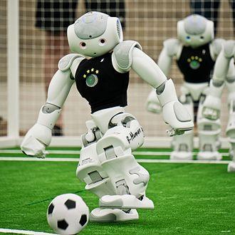 RoboCup Standard Platform League - A Nao robot of the SPL team B-Human, RoboCup 2016 in Leipzig, Germany