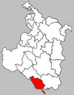 Map of Saborsko municipality within the Karlovac County