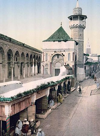 Yusuf Dey - View of the entrance and minaret of the mosque of Yusuf Dey in 1899