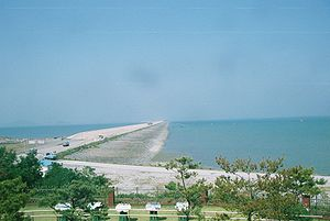 Saemangeum Seawall - A view of the Saemangeum Seawall.