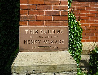 Henry W. Sage - Dedication cornerstone on Sage Chapel at Cornell