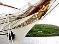 Sagres, pormenor da proa, o Infante D. Henrique. Quando da sua passagem pelo Porto de Pipas, Angra do Heroísmo, ilha Terceira, Açores.JPG