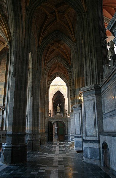 Right aisle of the Saints Peter and Paul Basilica (16/18th centuries) of Saint-Hubert (Belgium).