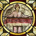 Saint John the Baptist Catholic Church (Dry Ridge, Ohio) - stained glass, Angel of St. Matthew.jpg