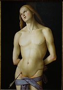 Saint Sebastian by the Master of the Greenville Tondo, Italian, c. 1500-1510, oil on wood panel transferred to canvas - Princeton University Art Museum - DSC06635.jpg