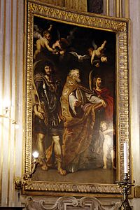 Saints Gregory the Great, Papias and Maurus by Rubens - Main altar - Chiesa Nuova - Rome 2015.jpg