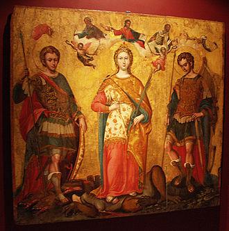 Byzantine Museum of Antivouniotissa - Saints Sergius and Bacchus and Saint Justina of Padua, by Michael Damaskinos, 16th century
