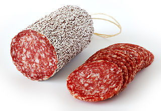 Salami cured sausage, fermented and air-dried meat
