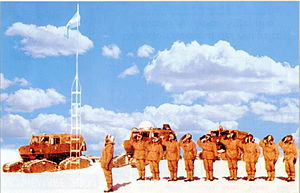 Armed Forces of the Argentine Republic - Soldiers saluting the flag at the South Pole.