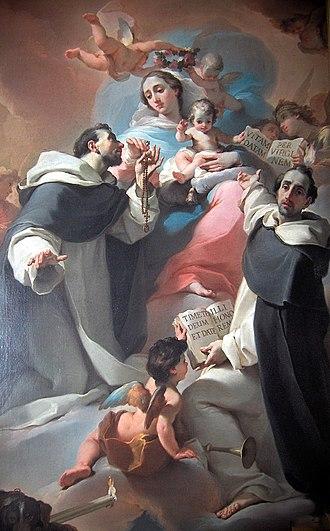 Ubaldo Gandolfi - Madonna with Child, Saint Dominic and Vincenzo Ferreri (ca. 1773).