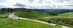 Skyline Boulevard stretches through the Santa Cruz Mountains, here near Palo Alto, California. During winter and spring, the hills surrounding the Bay Area are lush and green.