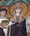 San vitale, ravenna, int., presbiterio, mosaici di teodora e la sua corte 05 teodora di bisanzio.jpg
