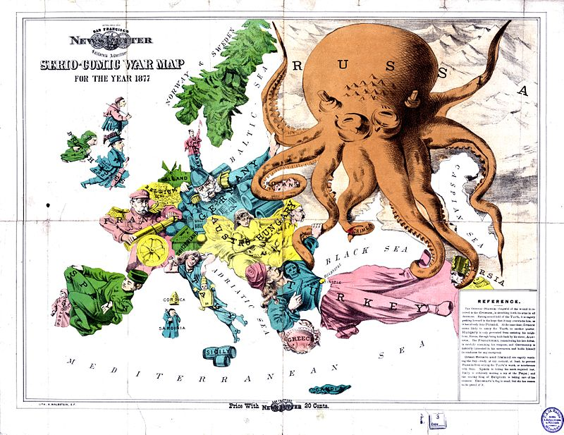 """The Russian menace: a Serio-Comic War Map for the Year 1877"", an English cartoon from 1877 showing Russia as a monstrous octopus devouring neighbouring lands, especially the Ottoman Empire Satirical map of Europe, 1877.jpg"