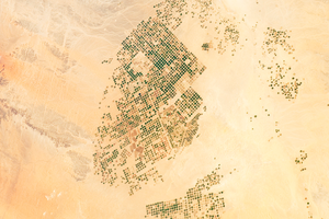 Agriculture in Saudi Arabia - Agricultural fields in the Wadi As-Sirhan Basin of Saudi Arabia as seen from the International Space Station in 2012.