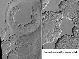 Scalloped topography - Image: Scalloped Terrain at Peneus Patera