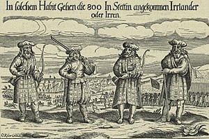 Highland dress - 17th century depiction of Highlanders wearing kilts, plaids, bonnets, and an early example of trews.