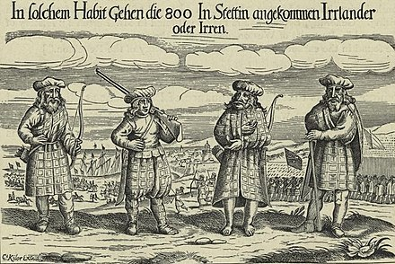 Scottish soldiers, identified as Donald Mackay Lord Reay's regiment, in service of Gustavus Adolphus, 1630-31 Scottish soldiers in service of Gustavus Adolphus, 1631-cropped-.jpg