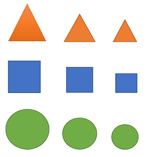 Pattern recognition (psychology) - A simple seriation task involving arranging shapes by size.