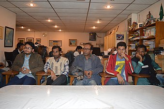 Shobuj Taposh & Hafiz Rashid Khan with Bengali Wikipedians at BNWIKI12 celebration in Chittagong (01).jpg