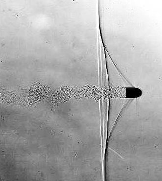 Flashtube - This shadowgraph of a bullet in supersonic flight was taken at the Edgerton Center (Strobe Alley, MIT), using a discharge from a high-speed flashtube