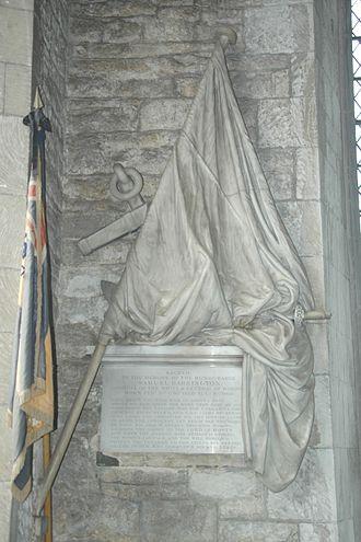 Samuel Barrington - Marble monument by John Flaxman to Rear Admiral Barrington in St. Andrew's parish church, Shrivenham