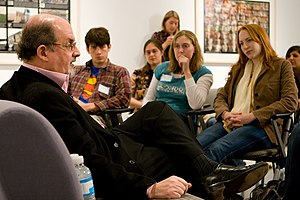 Author Salman Rushdie having a discussion with...