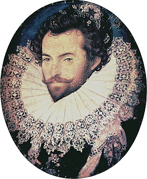 1585 in art - Hilliard - Portrait miniature of Walter Ralegh