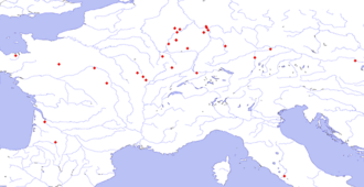 Sirona - Map showing the distribution of Sirona inscriptions and representations