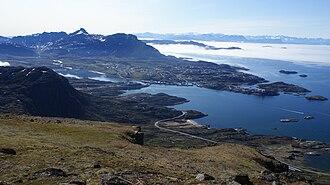 Sisimiut - The road to Sisimiut Airport, Sisimiut, Kangerluarsunnguaq Bay, Nasaasaaq, and Amerloq Fjord seen from Palasip Qaqqaa.
